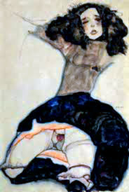 Egon Schiele, knieende Frau