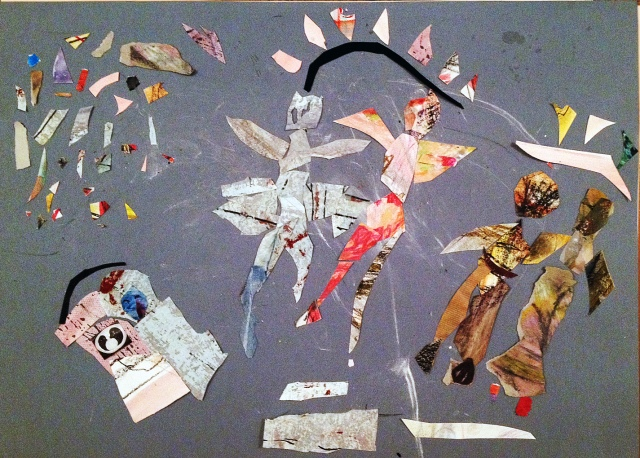 """""""paarweis"""". Legearbeit mit zufällig ausgewählten kleinen Schnipseln auf grauer Pappe, 50x70 cm, (c) gerda kazakou"""
