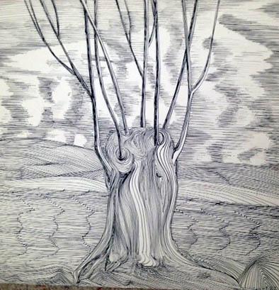 Erde, Baum, Himmel (Feder, Tinte)