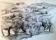 Landschaft mit Siedlungen (Kohle)