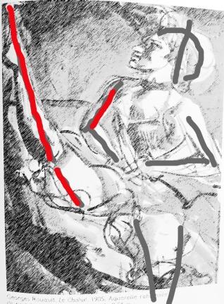 Rouault mit eingezeichnetem spitzem Winkel