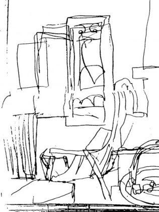 Sessel, Fenster neben Kamin