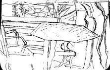 Gartentisch mit Stuhl und Bank