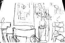 Zimmerecke mit Vase und Bildern