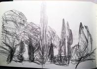 Waldstück, dahinter Zypressen