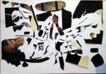 Jürgen Küster, dicke Papp-Reststücke teils mit collagierten Papieren und Schriftzügen , schwarz übermalt