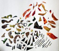 Ulli Gau, zerschnittene Fotocollage, glatte glänzende Stücke