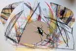 gezeichnetes Insekt auf zerschnittenem Ölkreidebild