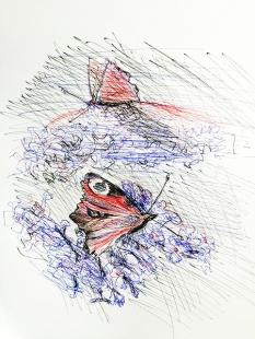 3-Farb-Zeichnung nach Foto von Puzzleblume