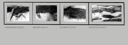 Galerie mit entfärbten Ausschniten von Gemälden