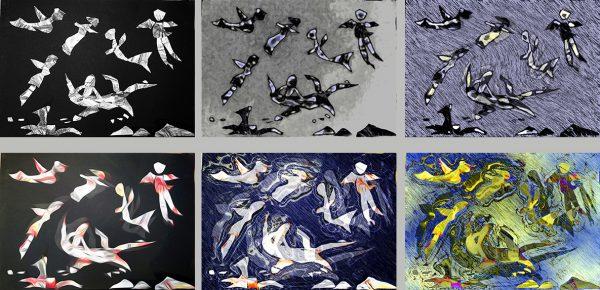 Collage von digital veränderten Legebild-Varianten