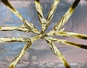 Collage Zeichnung auf Gemälde