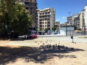 Vorplatz mit Tauben, davor tut sich was: Polizei sperrt die Straße