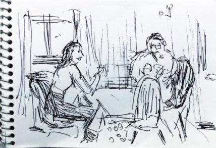 Paar im Frühstücksraum