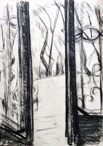 die geöffnete Ateliertür zeichnete ich