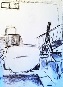 Atelier Rückwand mit Sofa